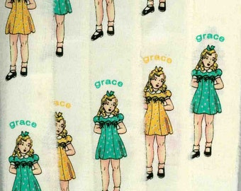 vintage style little girls in goldenrod and green dresses ,muslin handmade ribbon chic shabby, ... 206 . ....oohlala