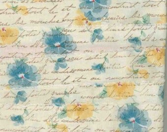goldenrod, blue pansies ,rubber stamped french script muslin handmade floral ribbon chic shabby, ... 208-2 . .oohlala