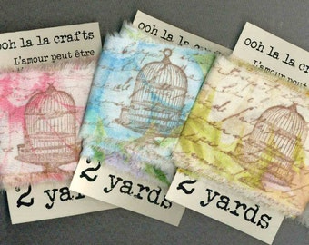 6 yards assorted vintage French script with birdcages and birds rubber stamped  ribbon 2.25 . ... 540 . ....oohlala