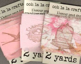 vintage French script  birdcages,nests and birds rubber stamped  ribbon  6 yards assorted  ... 541 . ....oohlala