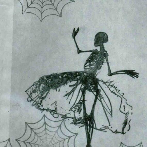 Halloween skeleton  spider webs glassine treat bag black  French party dress (g308)