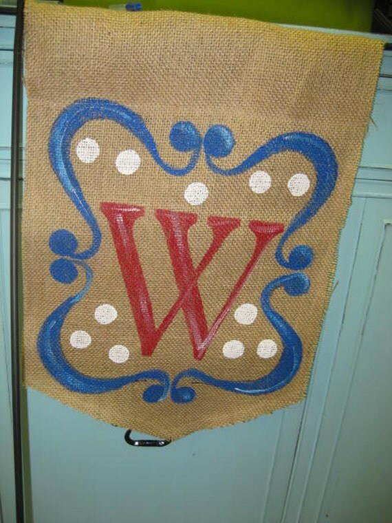 Burlap Yard Flag Personalized with Monogram and Scroll