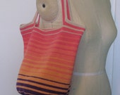 stripe shaded crochet tote