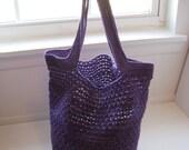 purple triangle mesh striped tote