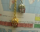 matinee treat- enamel movie theater box popcorn charm necklace (gold or silver)