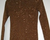 80s Copper Metallic Sequin Turtleneck  Size Small  BY ONCE 1 AGAIN