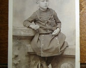 Original Vintage Photo of  Young Boy with  Outfit and Tie up Shoe/Boots