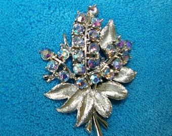 Crystal SilverTone Leaf Brooch, Aurora Borealis, Vintage 1970's