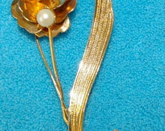 Vintage Rose Brooch, Gold Tone, White Faux Pearl, 1970s