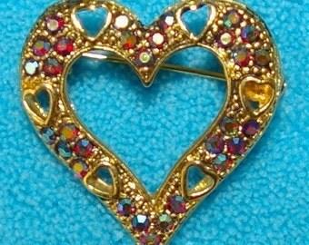 Vintage Crystal Heart Brooch, Aurora Borealis, Cut out Hearts, 1960's