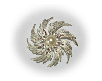 Vintage Sarah Coventry Brooch, Pinwheel, Silver Tone, White Pearl, Large Size, 1980's