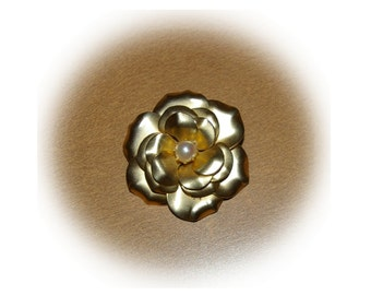 Vintage Rose Brooch, Gold Tone, White Faux Pearl, 1980's