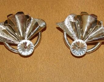 Vintage Silver Tone Flower Fan Earrings, Large Clear Stone,  Pierced Earrings, 1970's