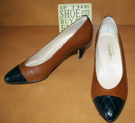Brown and Black Heel Shoes  By Etienne Aigner Size 7M  RESERVED LONI only