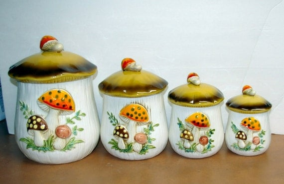 Mushroom Canisters 1977 Sears and Roebuck and Co. Set 4 Pieces