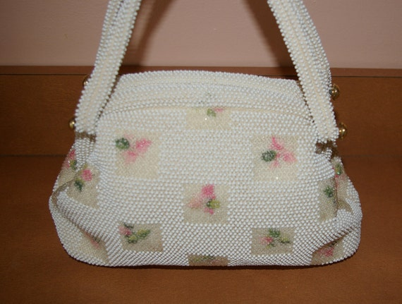 Vintage White Beaded Handbag  By Lumured  with Pink Florals 1960's On SALE
