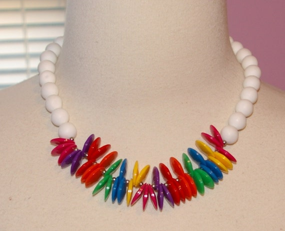 RESERVED for Carrie onlyMulti Color Necklace Vibrant Oval Shape Colors and White Beads   1980's