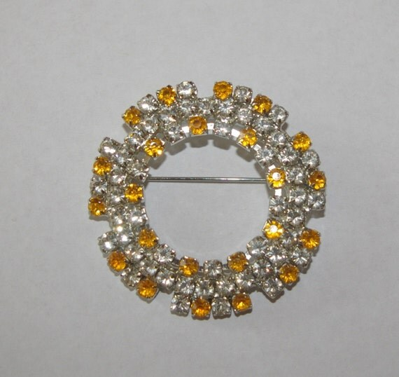 Yellow Rhinestone Brooch with Clear Rhinestones  Circular Vintage 1970's
