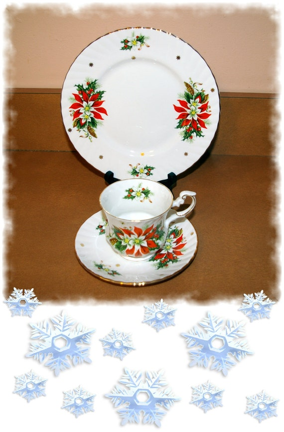 Christmas China Cup Saucer and Dish Noel  Royalty  Fine Bone China England  Vintage 1960's