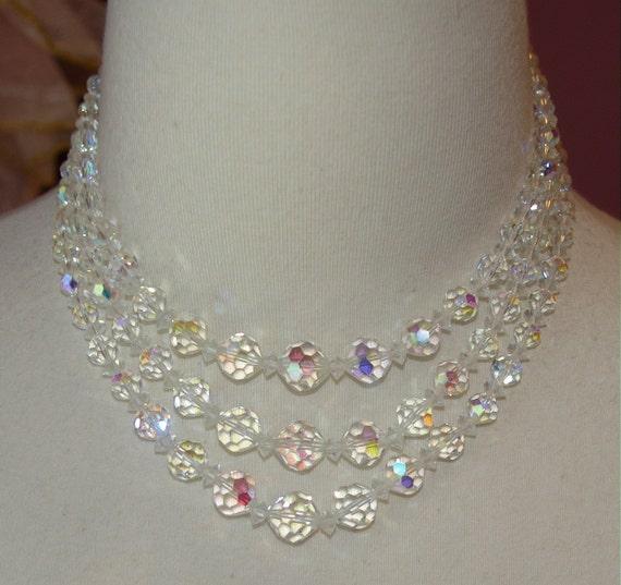 Austrian Crystal Necklace  Choker Length Triple Strand  Quality Crystals Signed Laguna