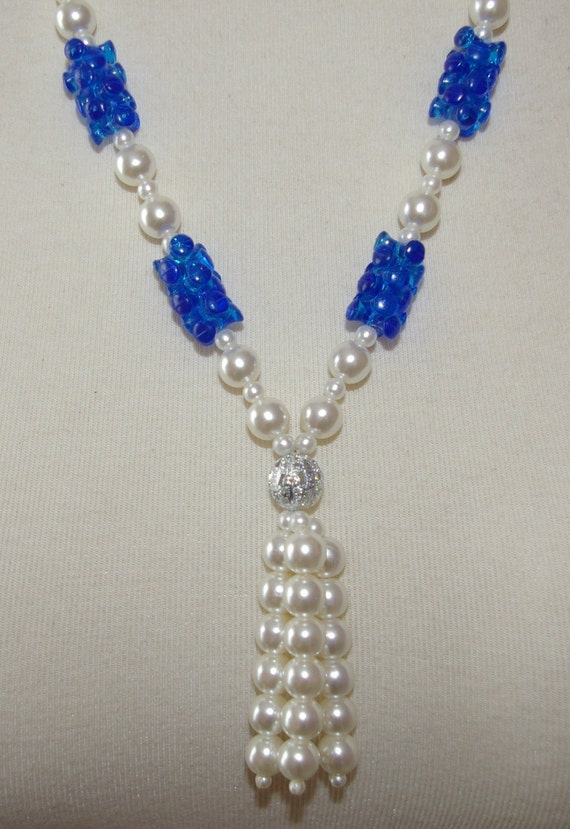 White Pearl Tassel Necklace with Blue Beads Vintage 1970's