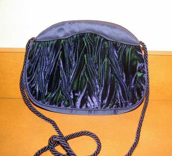 Royal Blue Velvet Handbag or Clutch with Green Swirls Made in Italy  Vintage 1970's