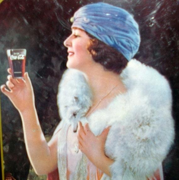 Vintage Coca Cola Tray, Reproduction, 1925 AD, Lady, Fur Collar, 1973