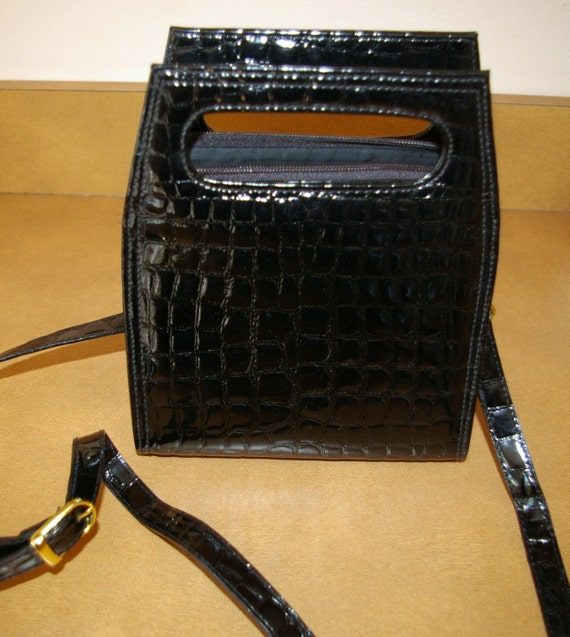 Black Patent Handbag  with Shoulder Strap  By Another Y and S Originals Vintage 1980s