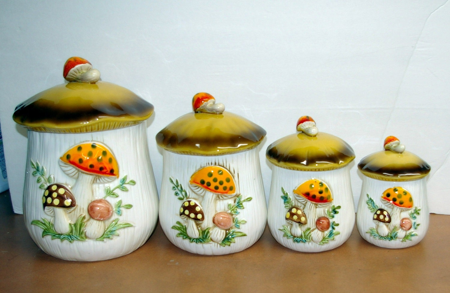 Mushroom Canisters 1977 Sears And Roebuck And Co Set 4 Pieces