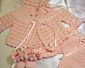 4 piece crocheted baby layette
