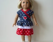 Ruffled Skirt, Top and Shoes for American Girl and Other 18 Inch Dolls