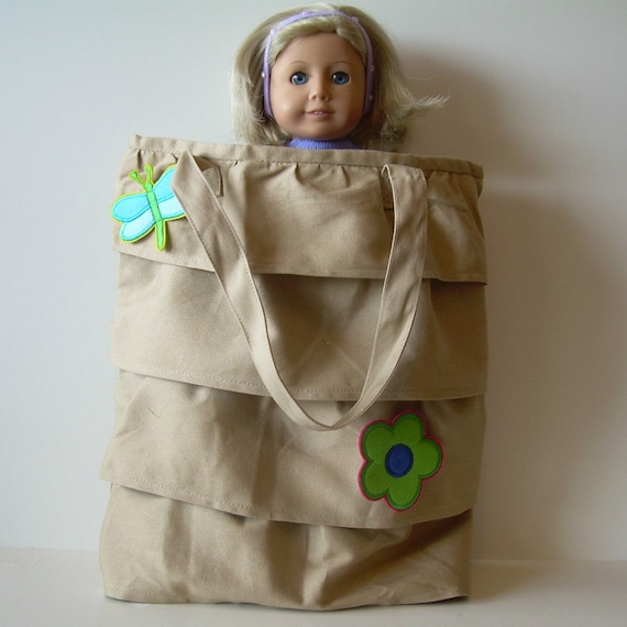 Ruffled Carry Bag for American Girl and Other 18 Inch Dolls
