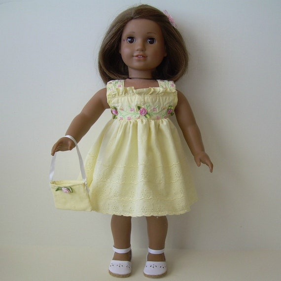 Eyelet Dress with Shoes, Slip and Purse for American Girl and Other 18 Inch Dolls