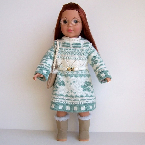 Mint Green and White Sweater Dress for American Girl and Other 18 inch Dolls