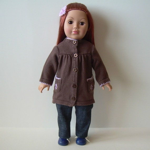 Knee-length Sweater and Jeans for American Girl and Other 18 Inch Dolls