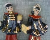 Oriental figurine pair mid century