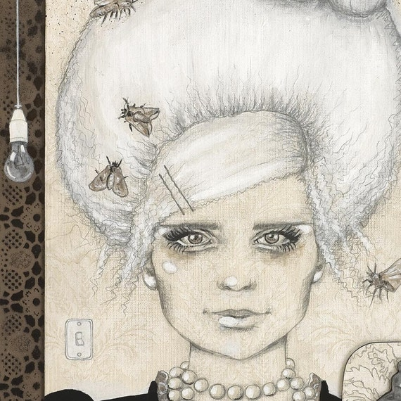 Giclee print by Andy McCready - 'BELLE OF THE MOTHBALL' - Limited edition,large, moth, beige, white, belljar, hair. Prints by giltandenvy on Etsy.