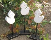 3 TALL STANDING GHOST BLOCK SET for Halloween, October, Fall, Autumn, shelf, desk, office and home decor