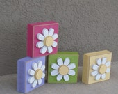 4 BLOCK SET with DAISIES for Easter, Spring, girl, and home decor