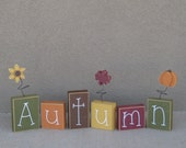 AUTUMN BLOCK SET for Fall, shelf, mantle,office, seasons, home, and holiday decor.