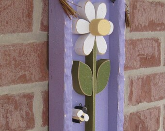 DAISY FRAME With STEM (Lavender with White Flower)
