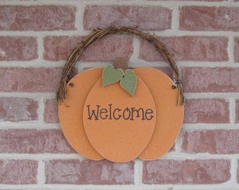 HANGING WELCOME PUMPKIN for Fall, Autumn, wall and door hanging decor