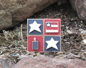 4 AMERICANA BLOCKS for July 4th, shelf, desk, office and americana home decor