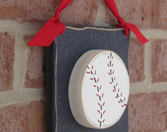 6 Inch HANGING BASEBALL with red ribbon for boy, wall, door hanger, and bedroom home decor