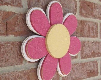 Hot Pink LAYERED DAISY for wall hanging, girl bedroom or home decor