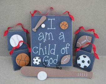 Set of Sports Themed  Boy Decor with a CHILD OF GOD sign (blue) for boy bedroom and wall hanging decor with sports theme