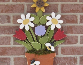 FLOWER POT With Daisies, Sunflower, Tulips, Lilac and Bees for home decor, door hanger, mothers day and spring decor