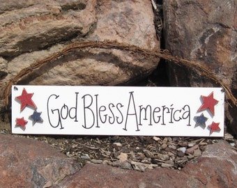 GOD BLESS AMERICA sign for July 4th, wall, door hanger, and americana home decor