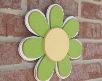 LIME GREEN layered DAISY for wall hanging, girl bedroom or home decor