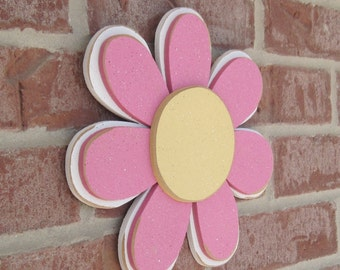 PINK LAYERED DAISY for wall hanging, girl bedroom or home decor